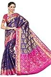 MIMOSA Women's Kanchipuram Silk Saree With Blouse (201-NVY-RNI_Navy Blue & Rani Pink)