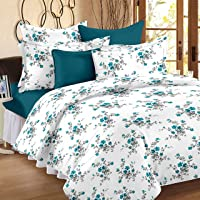 HUESLAND by Ahmedabad Cotton Comfort 144 TC Cotton Double Bedsheet with 2 Pillow Covers - White and Blue