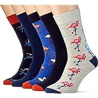 JACK & JONES Men's JACSUMMER Flamingo Sock 5 Pack NOOS, Light Grey Melange/Detail: Navy Blazer-Galaxy Blue-Navy Blazer…