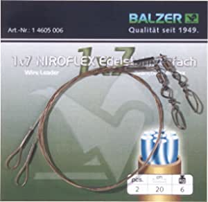 Balzer Niroflex Stahlvorfach 1x7 inklusive Klemmh/ülsenTragkraft 6kg L/änge 10m