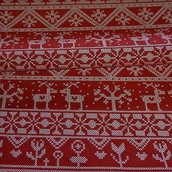 Red Linen Look 100% Cotton Fabric Christmas Fairisle design (Per ...