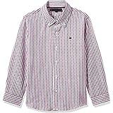 Tommy Hilfiger Boy's Dobby Stripe Long Sleeves Shirt, White