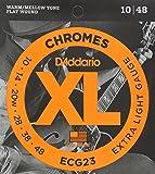 D'Addario Cordes à filet plat pour guitare électrique D'Addario Chromes ECG23, Extra Light, 10-48