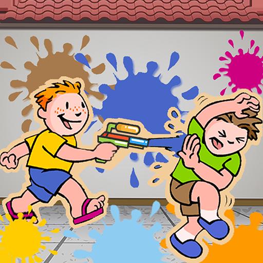 Kinder malen Schießspaß
