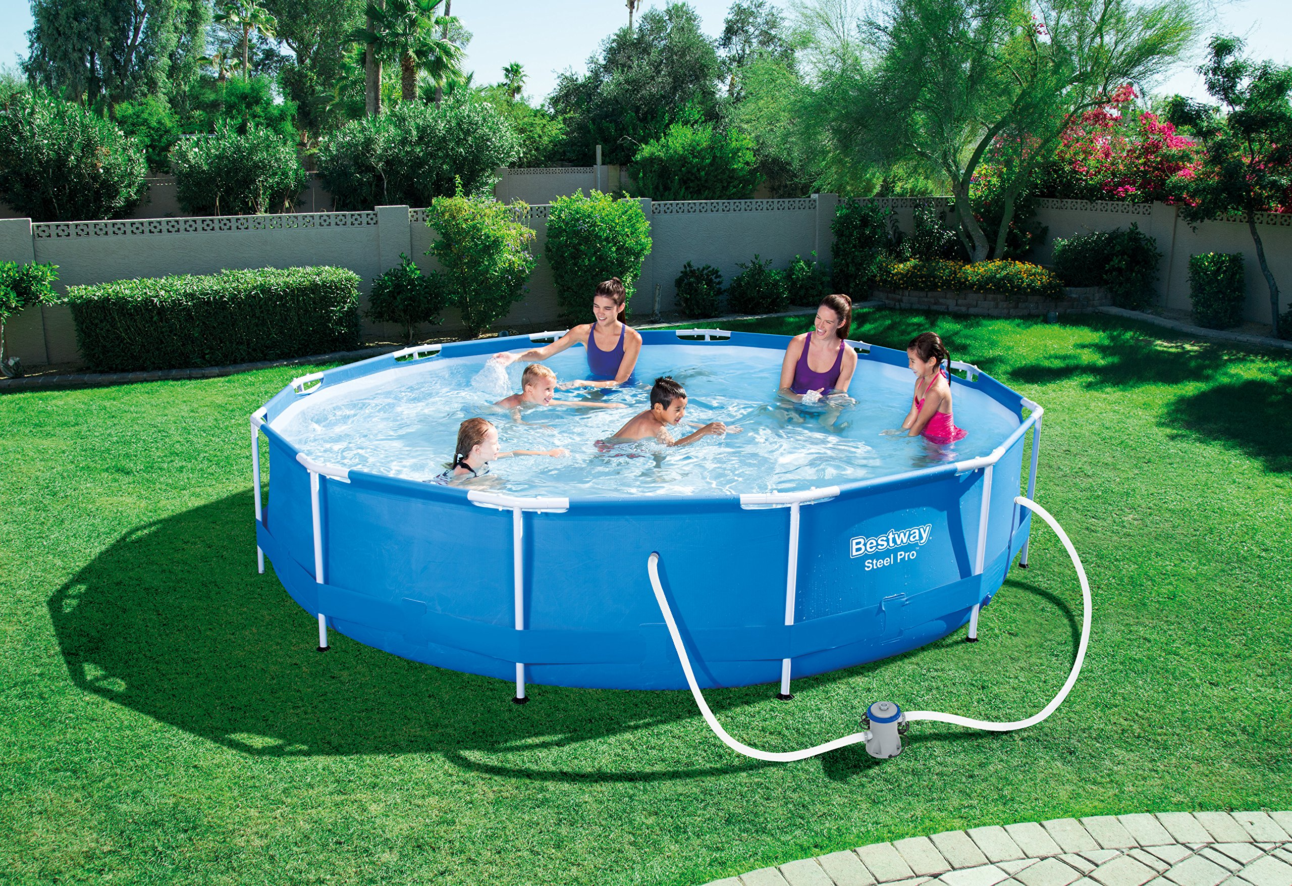 Schwimmbecken pool bestway steel pro frame pool set mit for Pool schwimmbecken