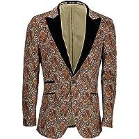 Mens Soft Velvet Tuxedo Jacket Black Peak Lapel Floral Paisley Print Slim Fit Blazer