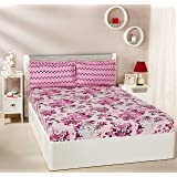 Amazon Brand - Solimo Floral Breeze 144 TC 100% Cotton Double Bedsheet with 2 Pillow Covers, Purple