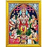 Koshtak Sri Satyanarayan Swamy Vishnu Avatar ji Giving Blessing Photo Frame with Laminated Poster for puja Room Temple Worshi