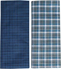 Mandhania Men's Cotton Lungi (Assorted Colour Checks, 2.5M) - Set of 2