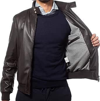 Alberto Zaccagnini Giubbotto di pelle da uomo | Bomber da uomo in vera pelle made in italy | Giacca invernale | AZ0089 LIMITED