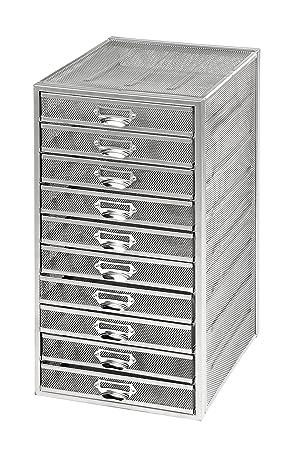 osco m10tslv wire mesh 10 drawer paper sorter silver