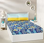 Amazon Brand - Solimo Floral Foliage 144 TC 100% Cotton Double Bedsheet with 2 Pillow Covers, Navy Blue