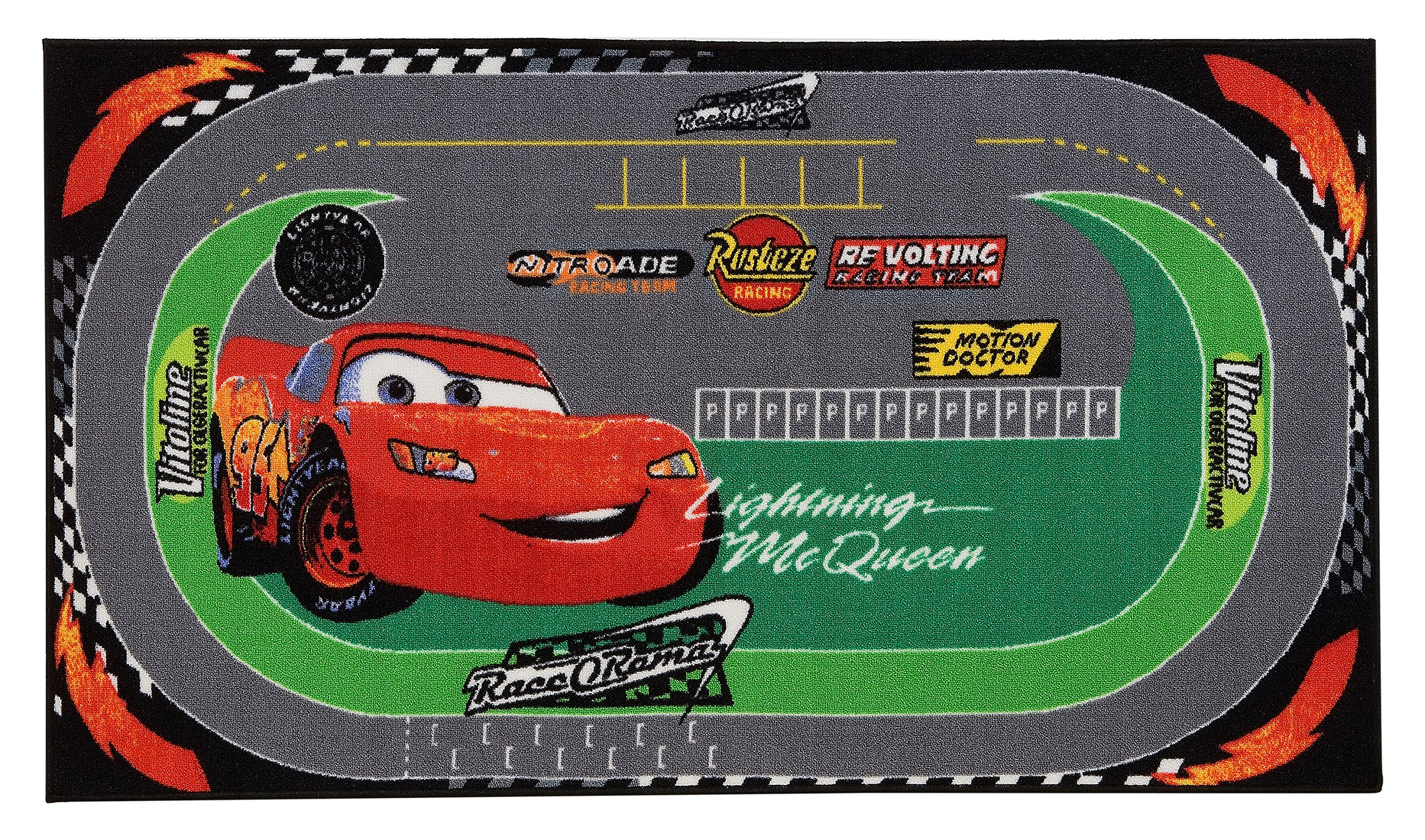 Disney Tappeto Cars Racing Rug Verde/Rosso 100x170 cm