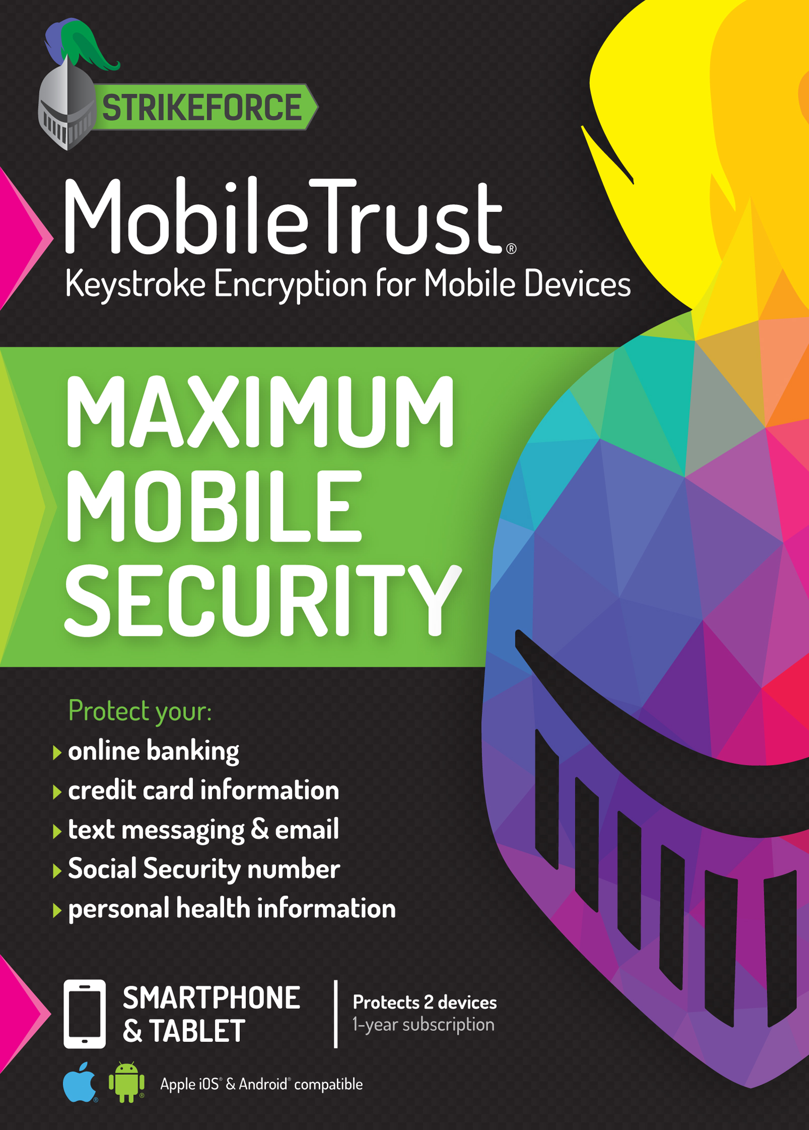 MobileTrust Anti-Malware Keystroke Encryption Software | 2 Devices, 1 Year  | iOS, Android [Online Code]