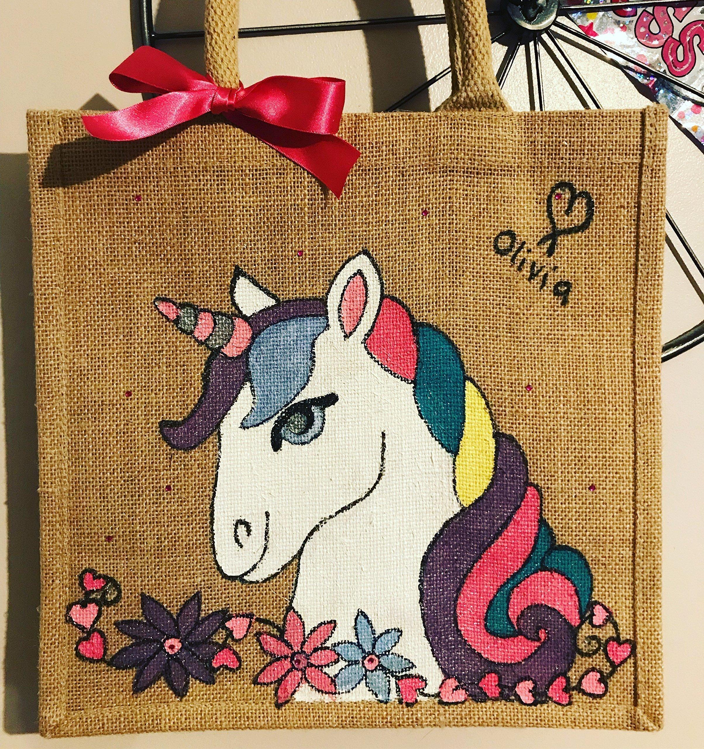 Unicorn Jute Bag - Personalised - handmade-bags