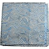 Paul Malone de carré de poche mouchoir 100% soie Bleu paisley