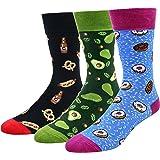 LITTONE Funny Animal Pattern Dress Socks for Mens Cotton Mid Calf Crazy Socks Unisex 3 Pairs