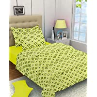 Ahmedabad Cotton Basics 2 Piece 136 TC Cotton Single Bedsheet with Pillow Cover - Green and Blue