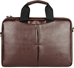 The Clownfish 15.6 inch Leatherette Tablet & Laptop Bag / Messenger Bag Briefcase - Macbook Pro, Macbook Air (Brown)