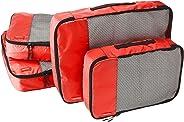 AmazonBasics Kleidertaschen-Set, 4-teilig, 2 mittelgroße und 2 große Kleidertaschen, Rot