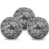 BELLE VOUS Bolas de Decoracion (3 Piezas) - Bolas de Cristal 10,1cm Brillante - Centro de Mesa Decorativo Mosaico Negro - Esf