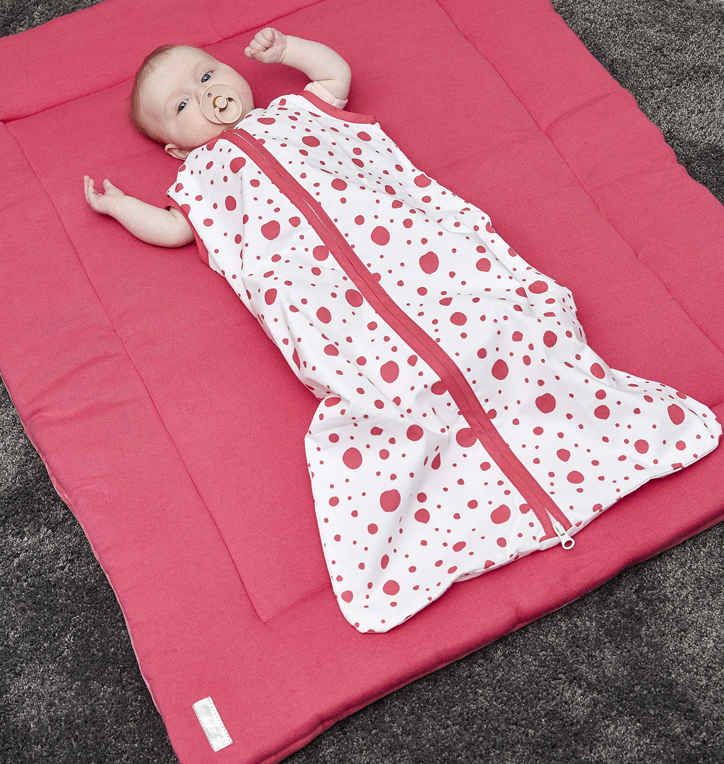 Meyco 412933 – Saco de dormir para verano (110 cm, sin forro, 100% algodón, 12-36 meses), diseño de puntos, color rosa y…