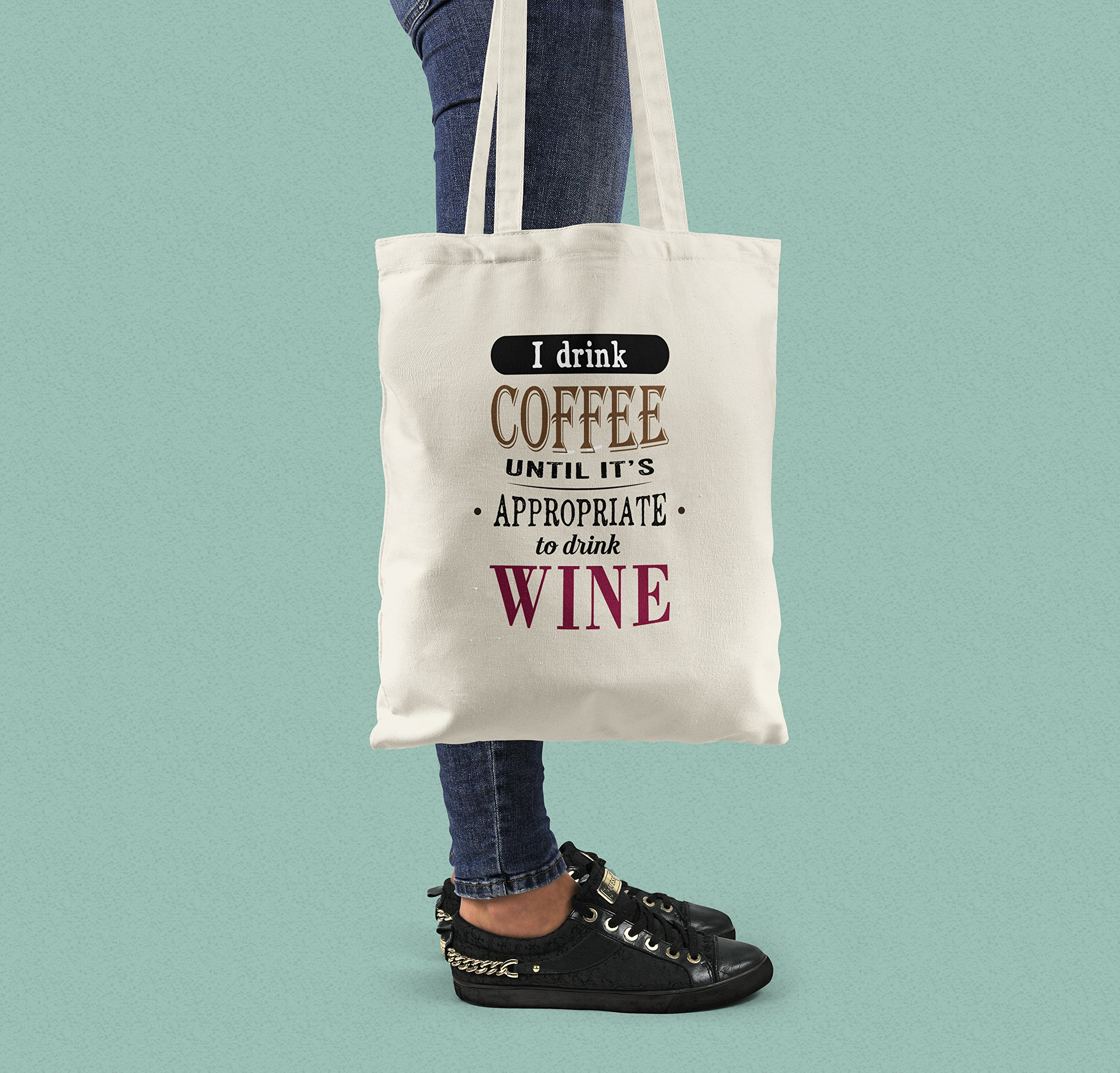 Coffee / Wine Lovers Canvas Shopper Tote Bag - handmade-bags