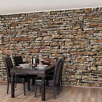 Steintapete grau schlafzimmer  Fototapete | Steintapete Amerikanische Steinwand - Vliestapete ...