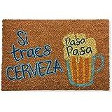koko doormats felpudos Entrada casa Originales, Fibra de Coco y PVC, Felpudo Exterior SI TRAES Cerveza Pasa Pasa, 40x60x1.5 c
