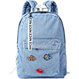 حقائب ظهر للفتيات المراهقات قماش الدنيم حقيبة مدرسية للأطفال جينز حقيبة ظهر للكلية ...