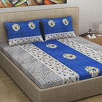 Divine Casa Floral 180 TC 100% Satin Double Bedsheet with 2 Pillow Covers, Blue