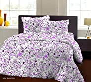 Bombay Dyeing Breeze Plus Collection 120 TC 100% Cotton Flat Double Bedsheet with 2 Pillow Cover (Magenta) 274 x 274 cm