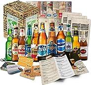 12x BIERE DER WELT (1x Geschenk Karton + 12x Bier Info + 1x Tasting Anleitung + 4x Bierdeckel) Geburtstagsgeschenk für M?nner