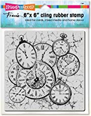 Stampendous 6CR001 Cling Stamp, Clock Collage