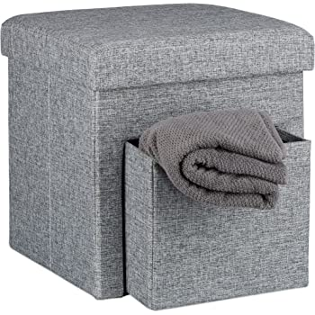 Relaxdays Folding Storage Ottoman With 2 Pull Out