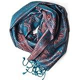 Sciarpa in 100% seta Pashmina dall'India per donna e uomo, motivo Paisley, 160 x 35 cm - fazzoletto in seta pura - molti dise