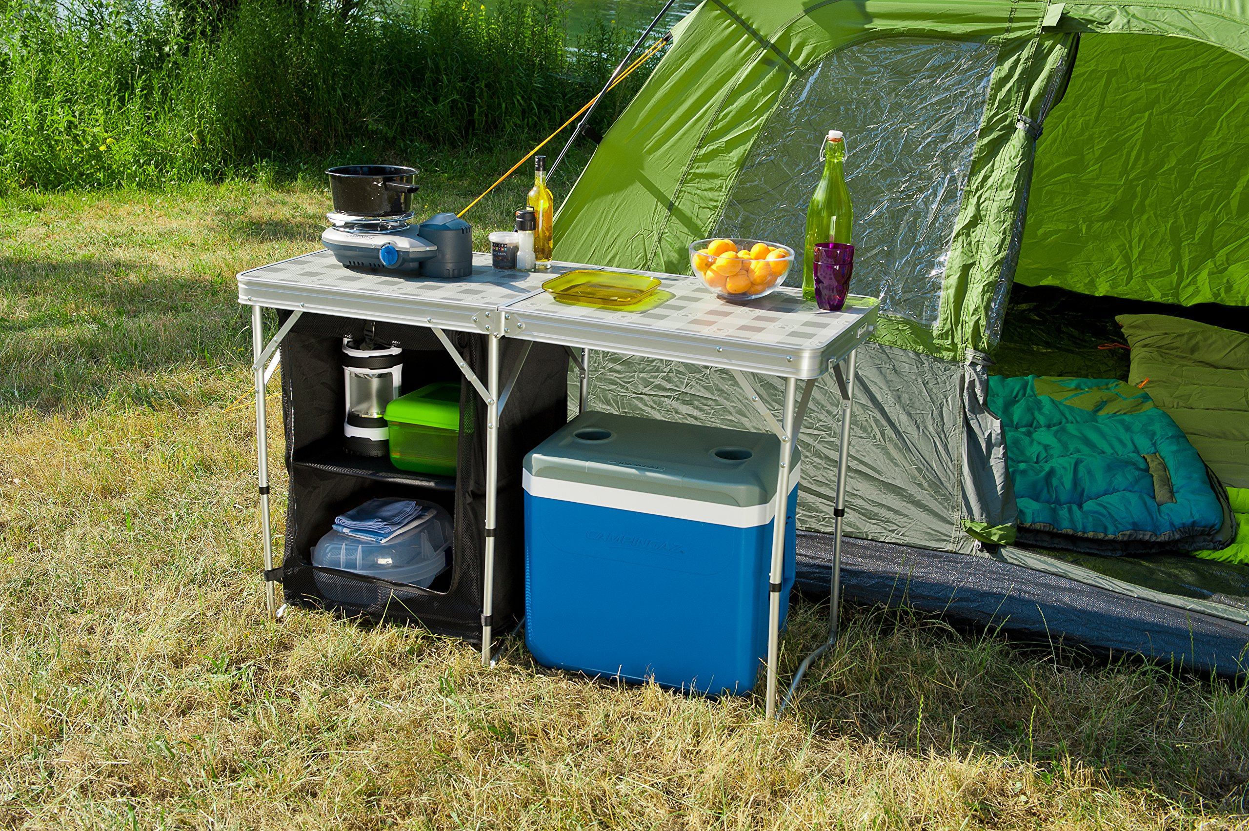 Outdoorküche Camping Xl : Coleman campingtisch in camp table and storage silber grau