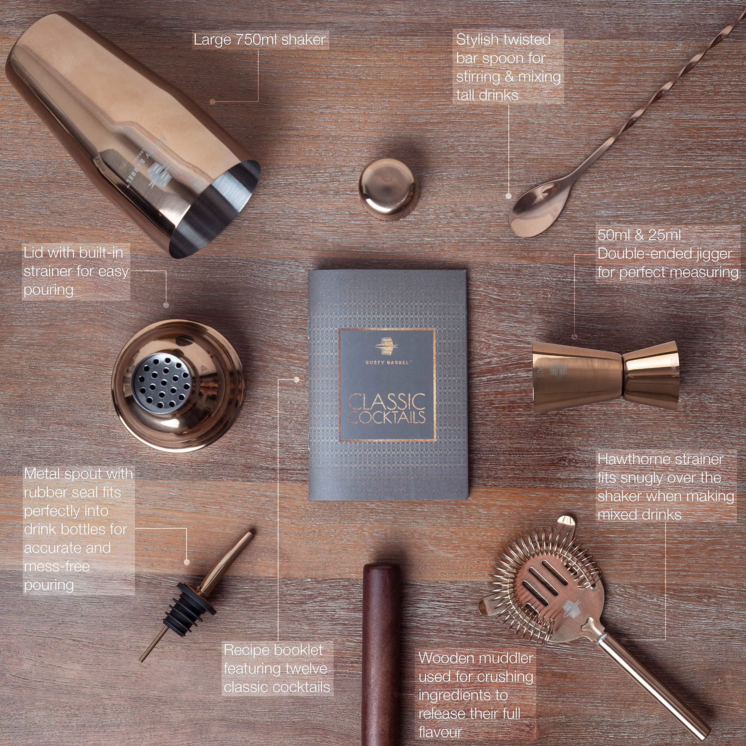 Rusty-Barrel-Mayfair-Cocktail-Shaker-Set-Groer-Manhattan-Style-Edelstahl-Shaker-Stel-aus-Holz-Sieb-Jigger-Messbecher-Barma-Ausgieer-Lffel-Rezeptbuch-in-luxuriser-Geschenk-Schachtel