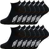 12 pares de calcetines tobilleros deportivos para hombre producto oficial de Umbro - Tallas 39 - 45 negro
