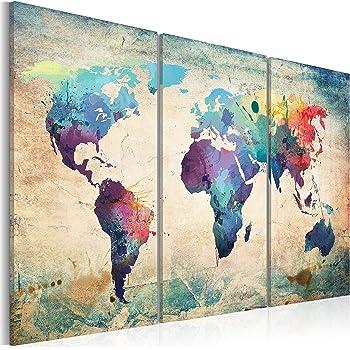 Quadro 120x80 cm - 3 Parti - Quadro su tela fliselina - Stampa in qualita fotografica - Mappa del Mondo 020113-47 120x80 cm B&D XXL