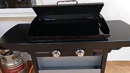 Campingaz Plancha de Gas EX, 2 Quemadores de Acero, 7.5 kW de Potencia, Carrito y 2 Mesas Plegables, Plancha Grande Antiadherente