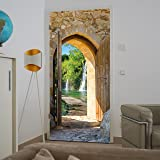 Deurbehang waterval 86 x 200 cm inclusief lijm bos meer stenen muur brug deur deur Middellandse Zee Fotobehang