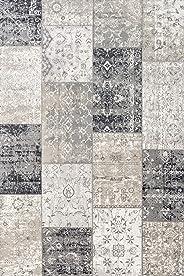 LIFA LIVING 133 x 200 cm vintage tapijt voor woonkamer en slaapkamer, woonkamertapijt met patchwork, donkergrijs, van zachte