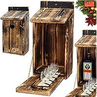 Alcohol Cage® - Holz Vogelhaus mit Platz für Flasche Schnaps und Glas Lustige Geschenke Männer für den Garten…