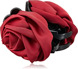 """Young & Forever """"Floral Odyssey Collection"""" Claret Red Resin Rose Jaw Hair Clip Clutcher For Women"""