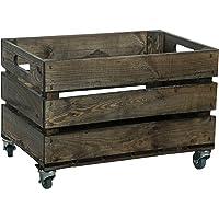 Kistenkolli Altes Land Caisse à fruits stable avec roulettes, caisse pour pommes, caisse à vin design rustique…
