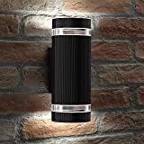 Auraglow Indoor/Outdoor Double up & Down Wall Light - Black - Cool White LED Bulbs Included