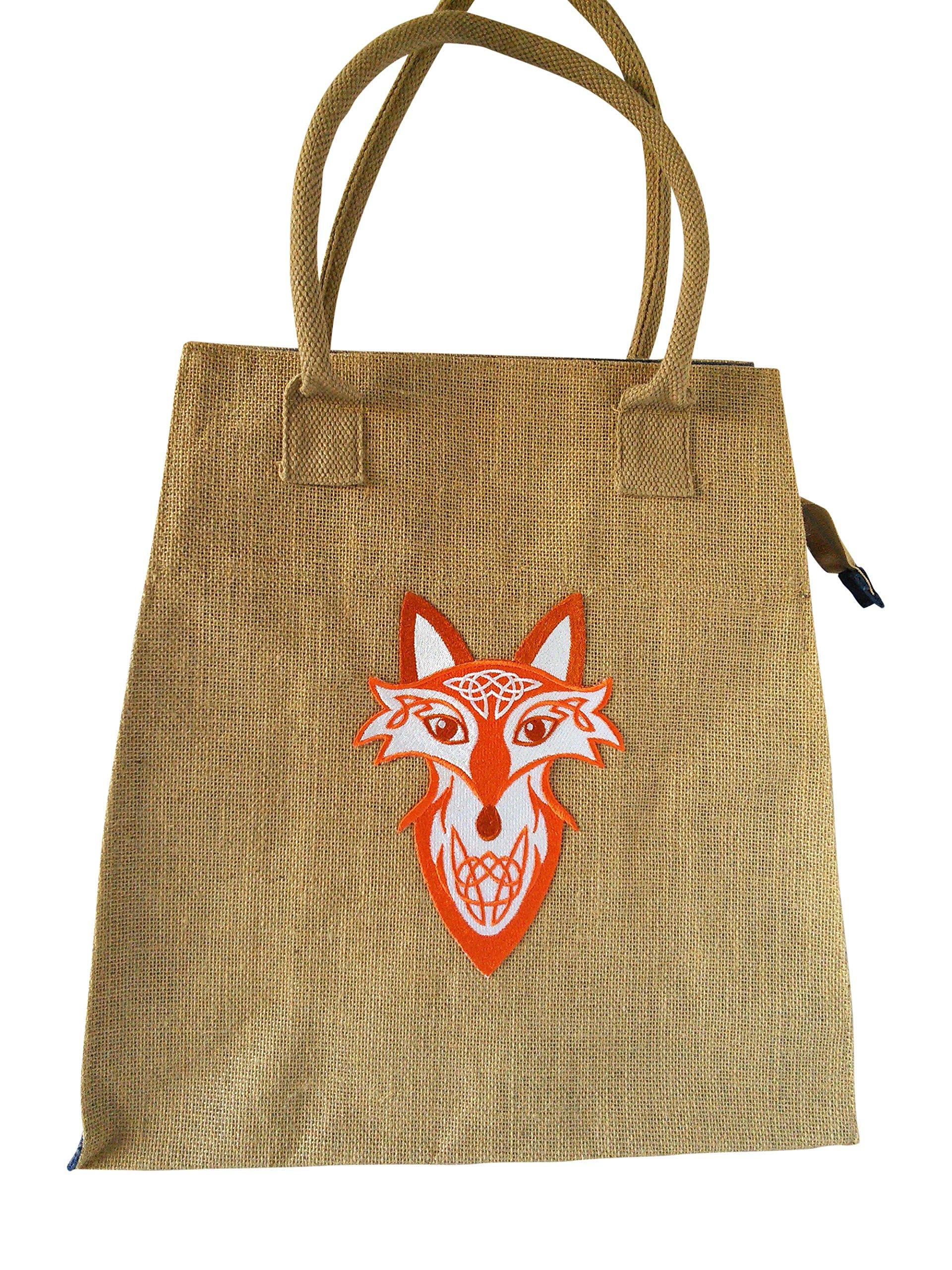 Celtic Fox Jute Bag With Blue Side Panel - handmade-bags