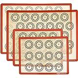 AmazonCommercial Tapis de cuisson en silicone, pour macarons, 1demi-feuille et 1quart de feuille