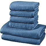 Amazon Basics Set de 2 draps de bain et 4 serviettes de bain à séchage rapide - Bleu lagon